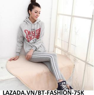 Quần Dài Nữ Thun Ôm Legging Thể Thao Thời Trang Hàn Quốc - BT Fashion (QTT01A-2 SỌC) thumbnail