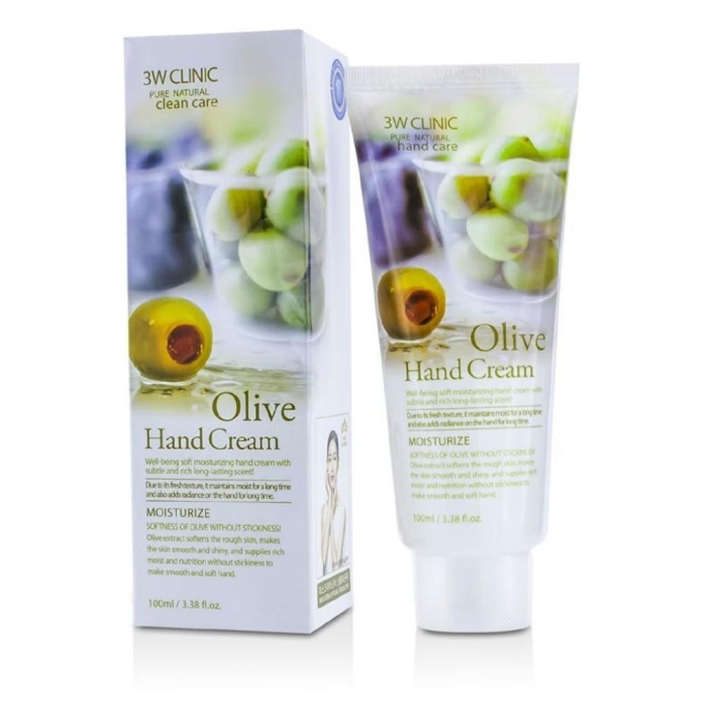 Hình ảnh Kem Dưỡng Da Tay Chiết Xuất Ô-Liu 3w Clinic Olive Hand Cream 100ml