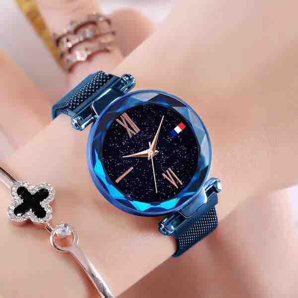 Đồng hồ nữ thời trang cao cấp dây lụa kim loại khoá nam châm - Màu xanh dương bán chạy
