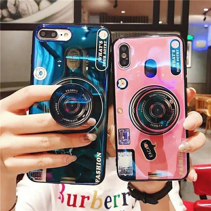 Ốp lưng 3D hình máy ảnh kèm Iring dành cho điện thoại iPhone 5 / 5s 6 / 6S / 6Plus 7 G / 8G 7P / 8Plus X