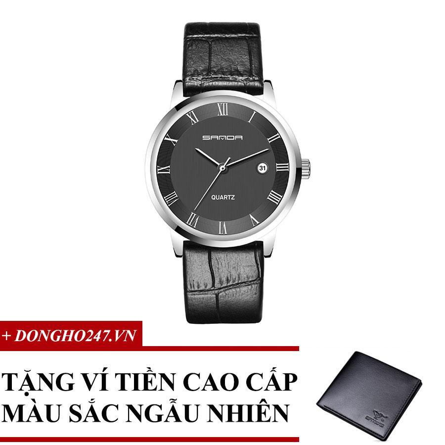 Đồng hồ nam dây da kính Sapphire siêu mỏng CH332 + Tặng ví da màu ngẫu nhiên bán chạy