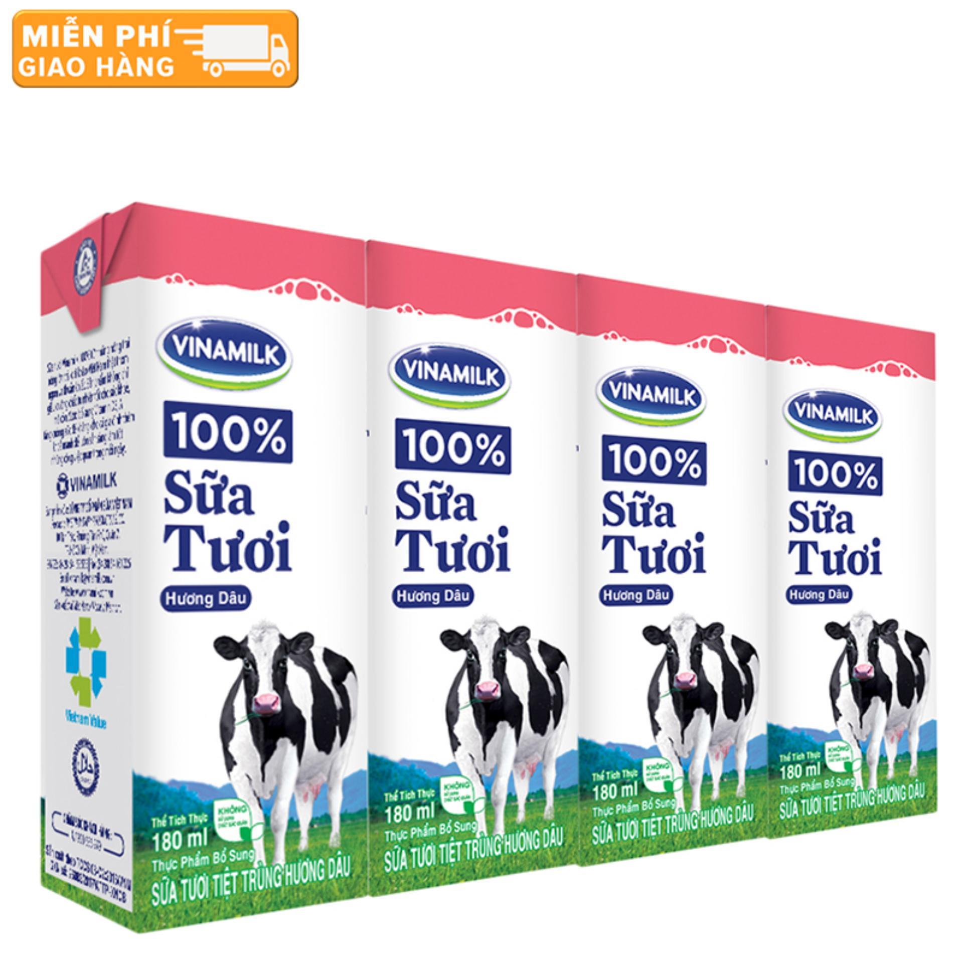 Thùng 48 Hộp Sữa tươi tiệt trùng Vinamilk 100% Hương Dâu 180ml