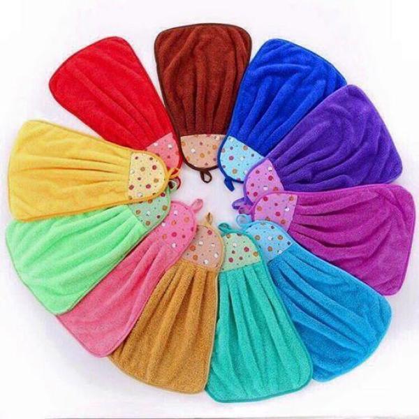 Bộ 3 khăn lau tay nhà bếp loại dày có móc treo (Màu ngẫu nhiên)