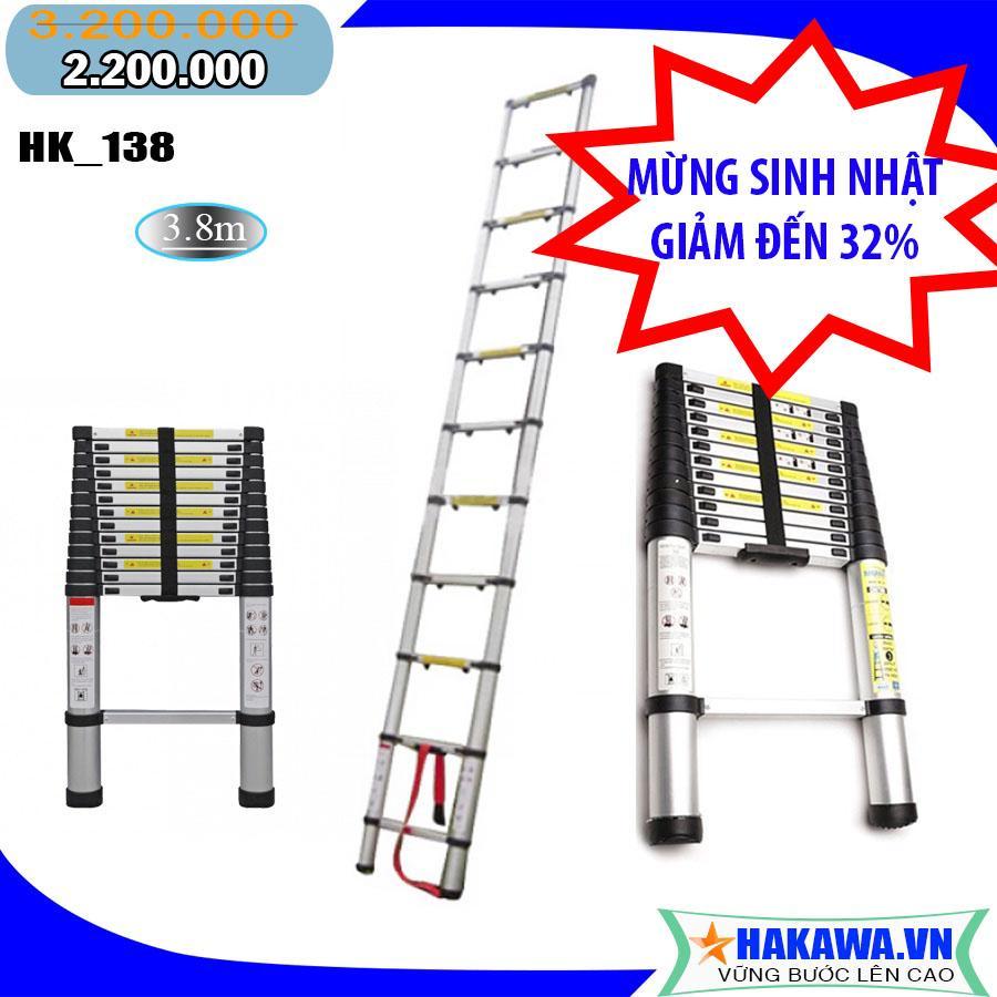 [thang nhôm rút] Thang nhôm rút gọn HAKAWA HK138  - HÀNG NHẬT BẢN, chất lượng cao, 3 mét 8