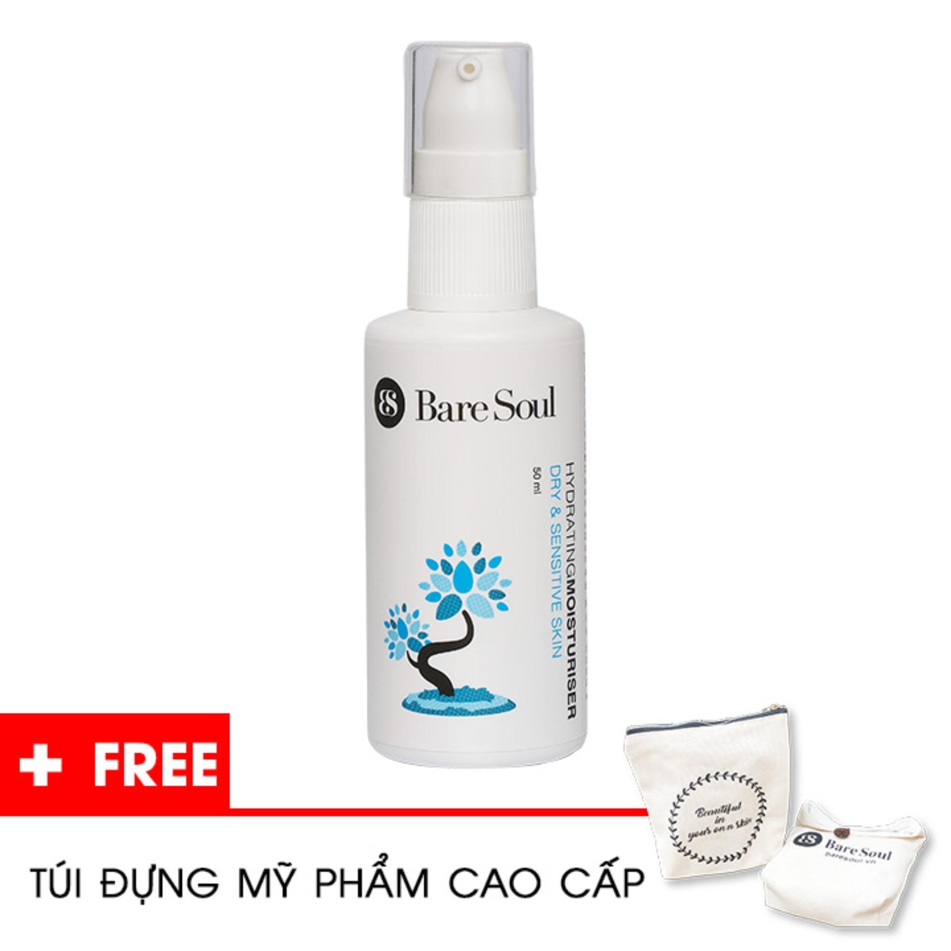Kem dưỡng ẩm nuôi dưỡng BareSoul – Da khô & da nhạy cảm full-size 50ml – Hàng chính hãng – Hydrating Moisturiser Dry & Sensitive Skin + Tặng túi mỹ phẩm cao cấp