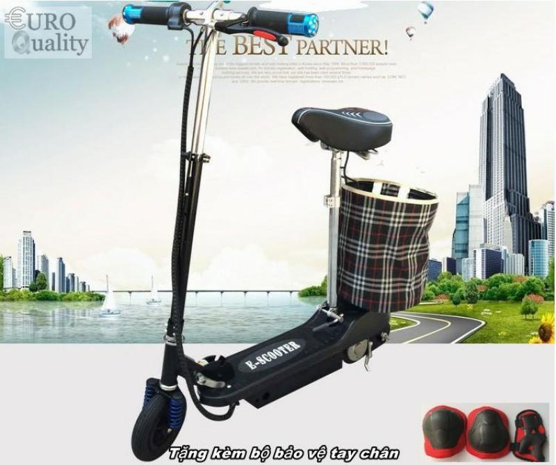 Giá bán Xe scooter điện E-Scooter 15km/h, tải trọng 80kg, 120w thiết kế chắc chắn (Black) + Tặng kèm bảo vệ tay chân - Euro Quality