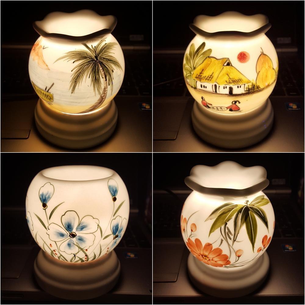 Đèn xông tinh dầu sứ Bát Tràng đuổi muỗi kiêm đèn ngủ (họa tiết ngẫu nhiên) / Chống muỗi Diệt muỗi