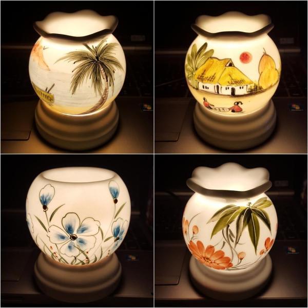 Đèn xông tinh dầu sứ Bát Tràng cỡ 9,5 x 11,5cm / Đuổi muỗi Diệt muỗi Đèn trang trí