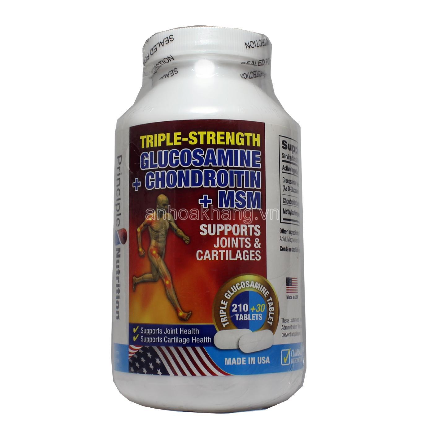 Viên hỗ trợ và phục hồi chức năng xương khớp - Principle Nutrition Triple-Strength Glucosamine + Chondroitin + MSM nhập khẩu