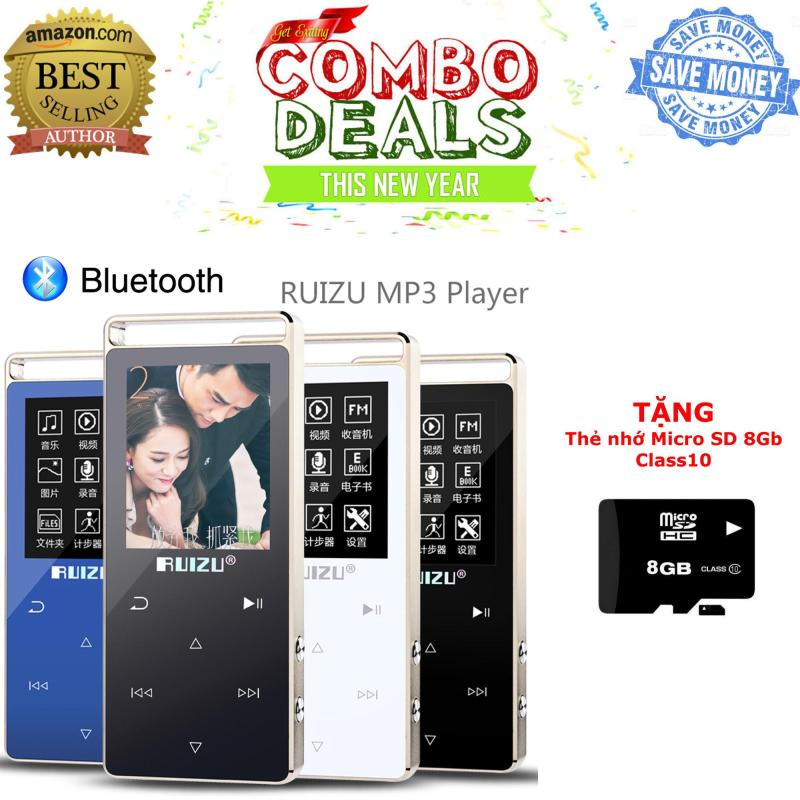 Máy nghe nhạc thể thao HiFi 2018 Ruizu D01 - Phiên bản mới có BLUETOOTH [Công ty nhập khẩu phân phối] - Bảo hành 12 tháng + TẶNG thẻ nhớ Micro SD 8GB Class 10 chất lượng cao