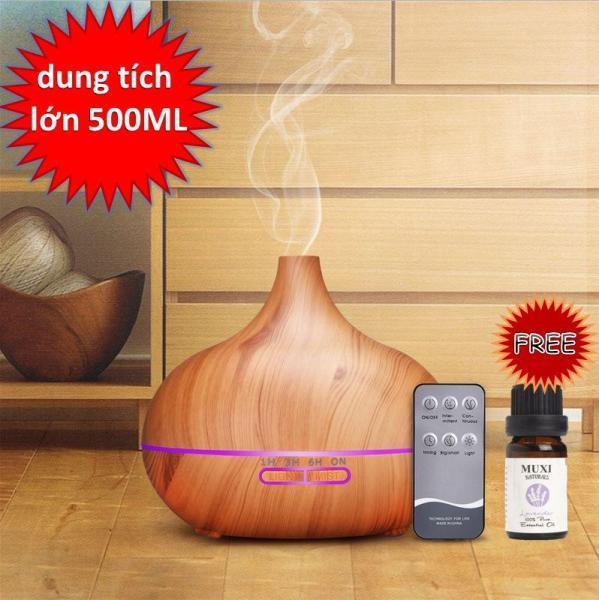 Máy xông tinh dầu, phun sương tạo ẩm 500ml vân gỗ có remote ( tặng tinh dầu)