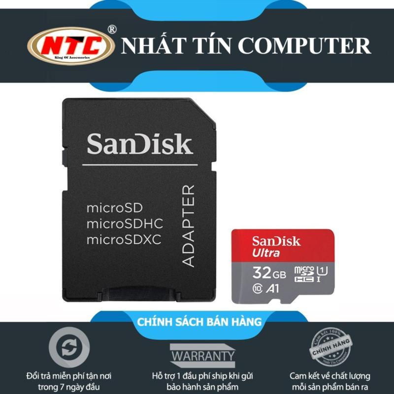 Thẻ nhớ MicroSDHC SanDisk Ultra A1 32GB Class 10 U1 98MB/s kèm adapter - Model 2017 (Xám đỏ)