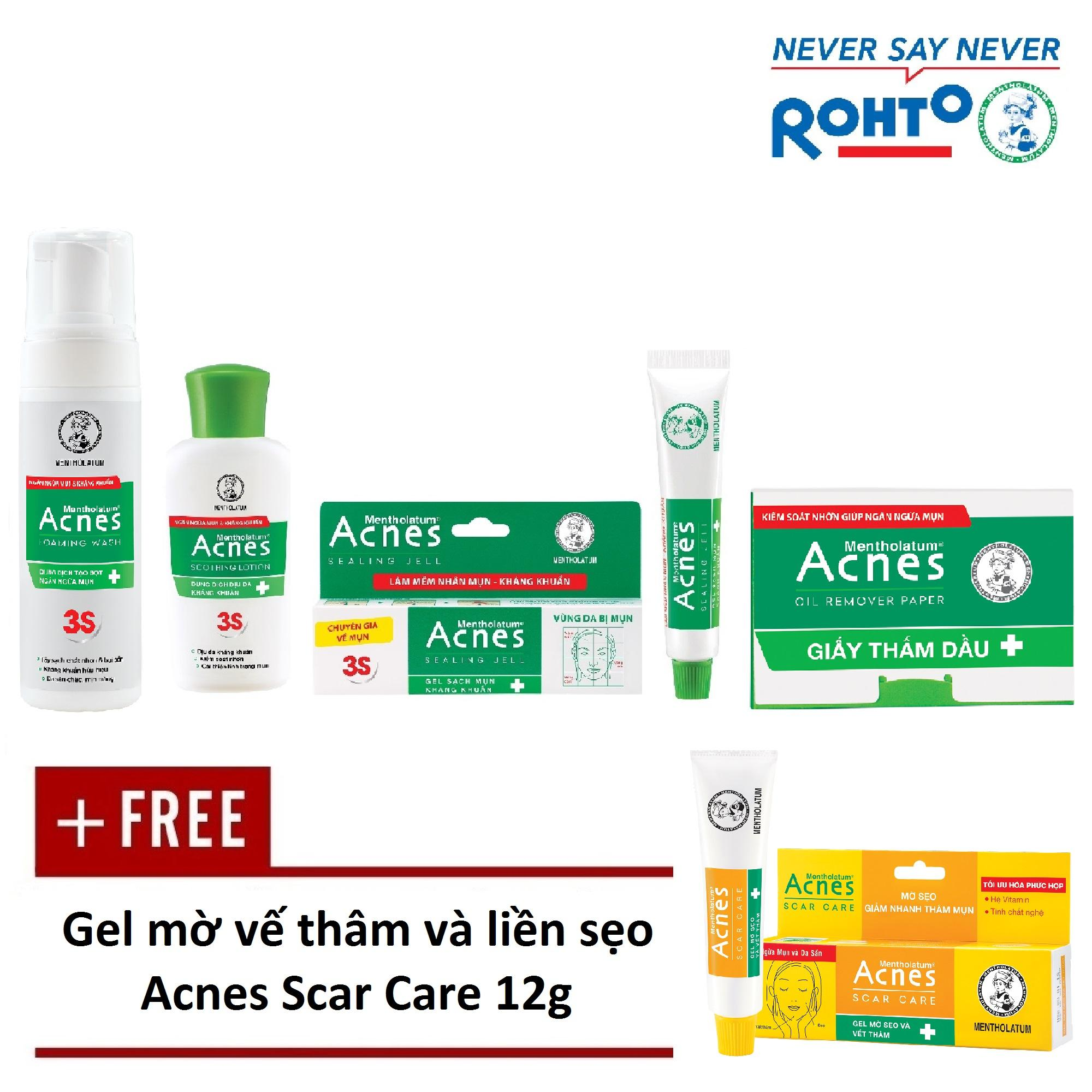 Hình ảnh Bộ sản phẩm trị mụn Rohto Acnes (da dầu/hỗn hợp) + Tặng 1 Gel mờ vết thâm, liền sẹo Acnes Scar Care 12g