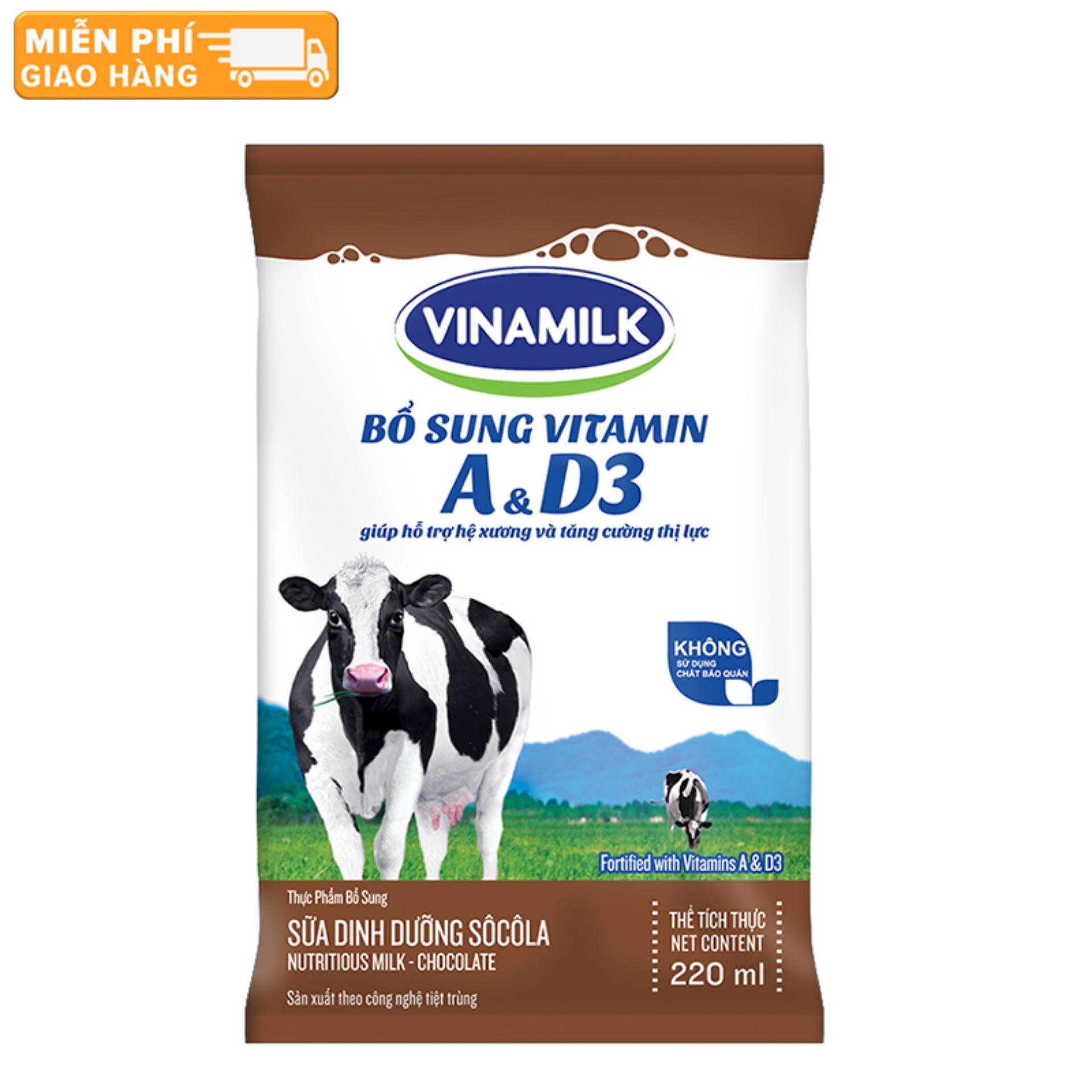 Thùng 48 Bịch Sữa tiệt trùng Vinamilk sôcôla 220ml