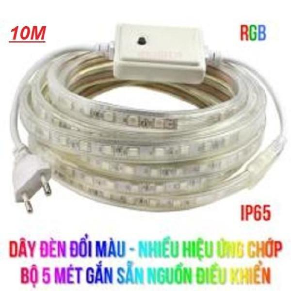 Dây đèn đổi màu, Nhiều hiệu ứng chớp, Chống mưa, 10M gắn sẵn nguồn.