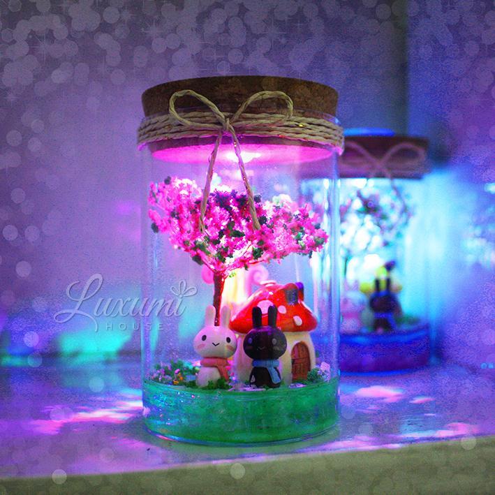 Quà tặng Valentine - Lọ pha lê có đèn phát sáng [Nhà nấm + Cặp Cún hoặc Cặp Thỏ] - Quà tặng độc đáo - Quà tặng người yêu - Quà tặng bạn gái - Quà tặng sinh nhật - Quà tặng handmade