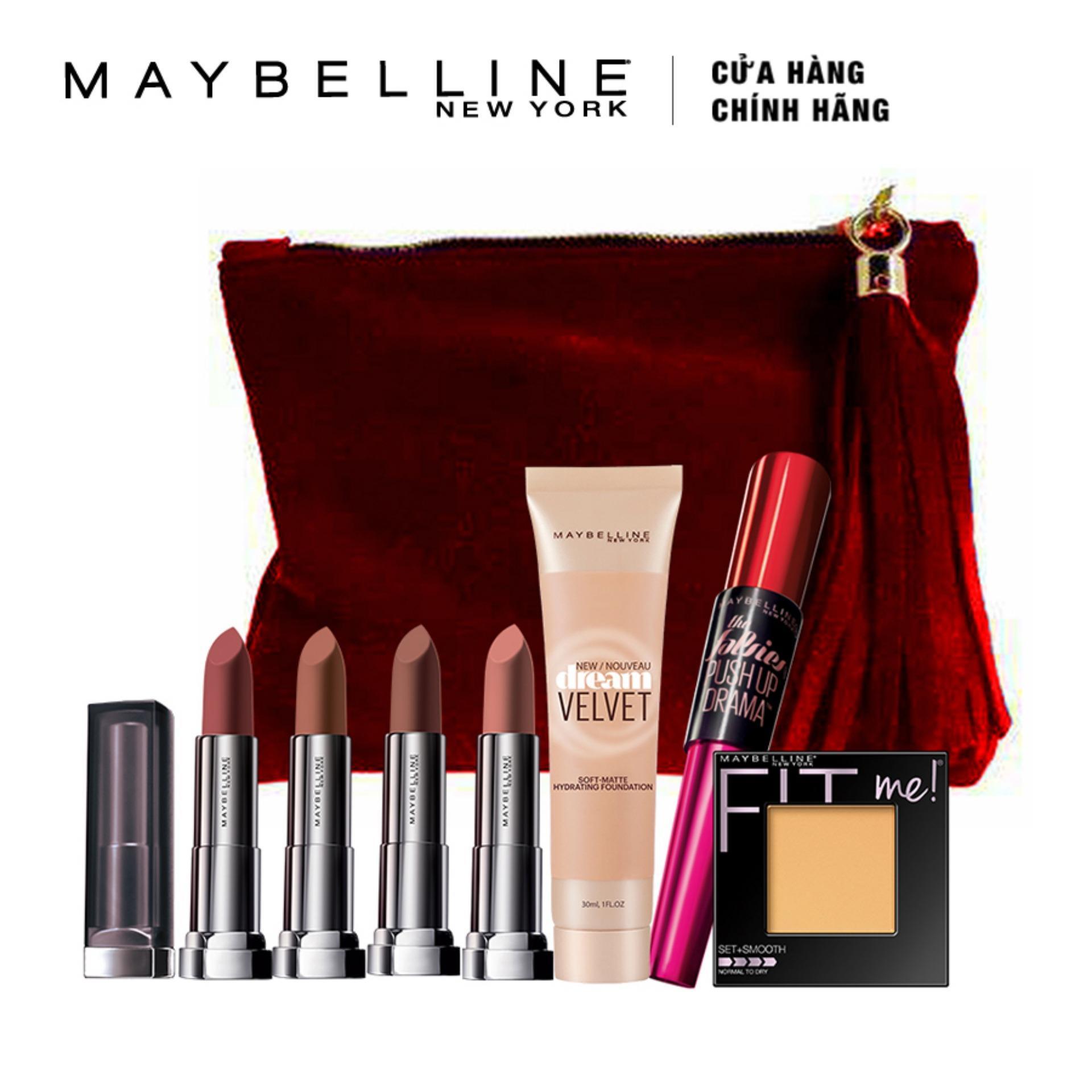 Hình ảnh Bộ quà tặng mùa lễ hội: Top các sản phẩm Maybelline New York sản xuất và bán chạy tại Mỹ (Tông nude gợi cảm)