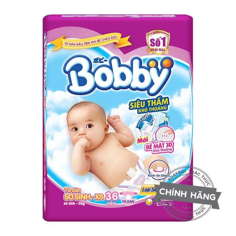 Bĩm - Tã dán sơ sinh Bobby XS36 kèm gối thuyền