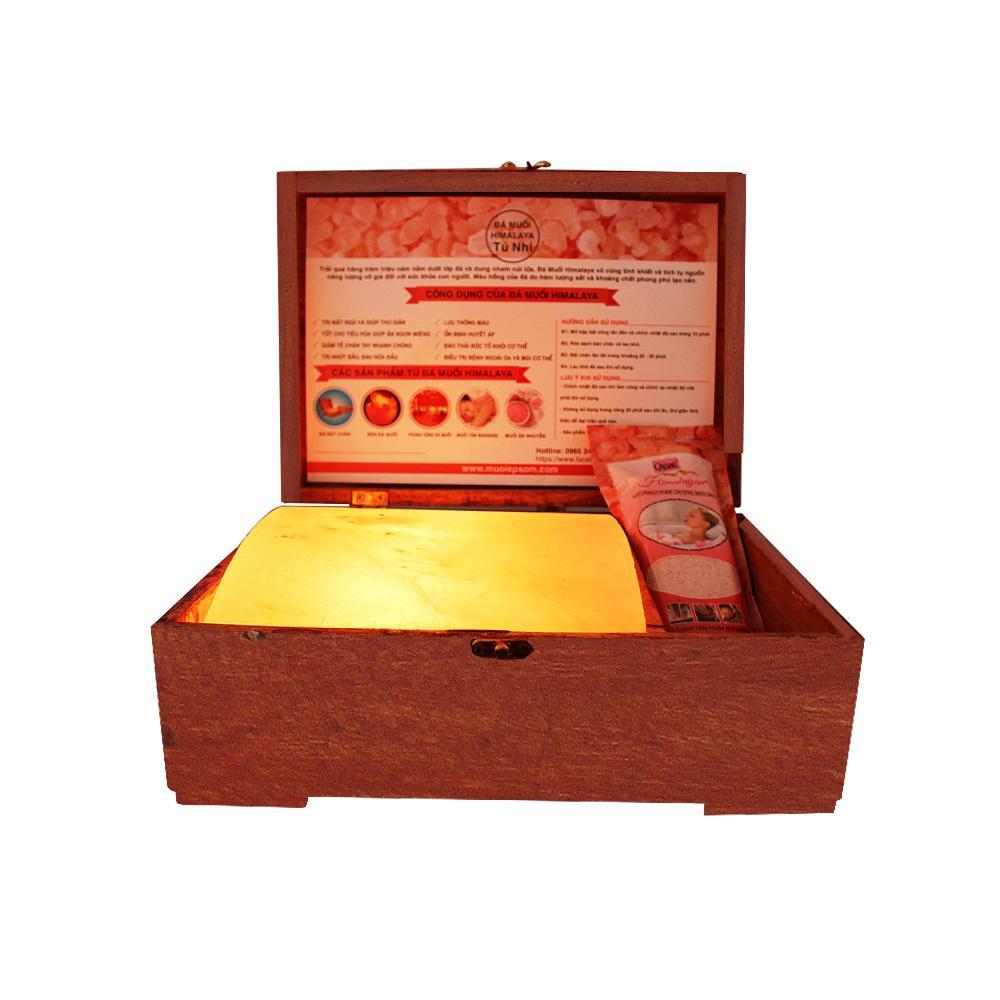 Hộp massage đá muối Himalaya mặt cong (hộp gỗ thiết kế độc quyền)