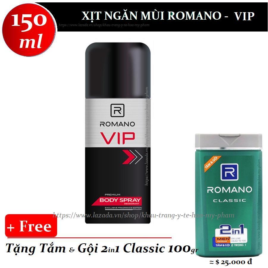 Romano - Xịt ngăn mùi toàn thân VIP 150 ml + Tặng tắm gội toàn thân 100 gr nhập khẩu