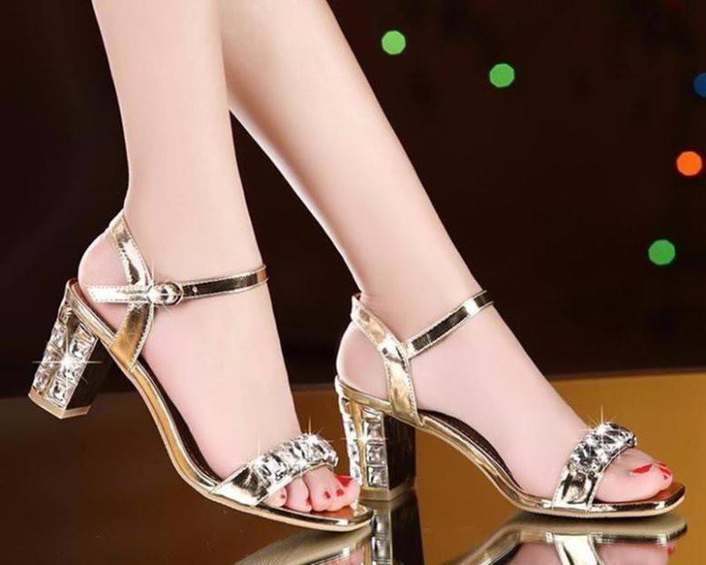 Giày Sandal gót vuông đính đá Lilian giá rẻ