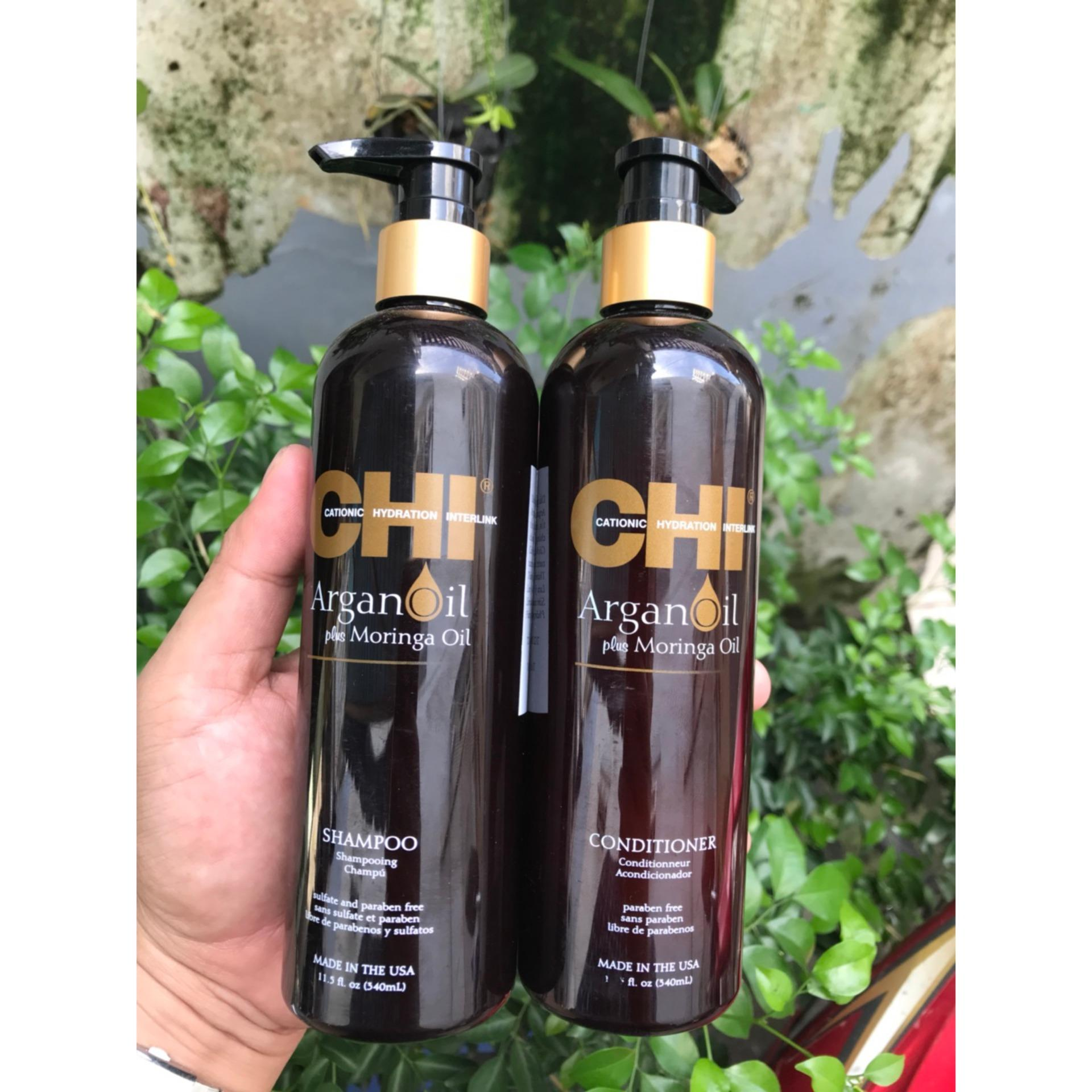 Dầu xả CHI Argan Plus Moringa Oil Conditioner 355ml nhập khẩu