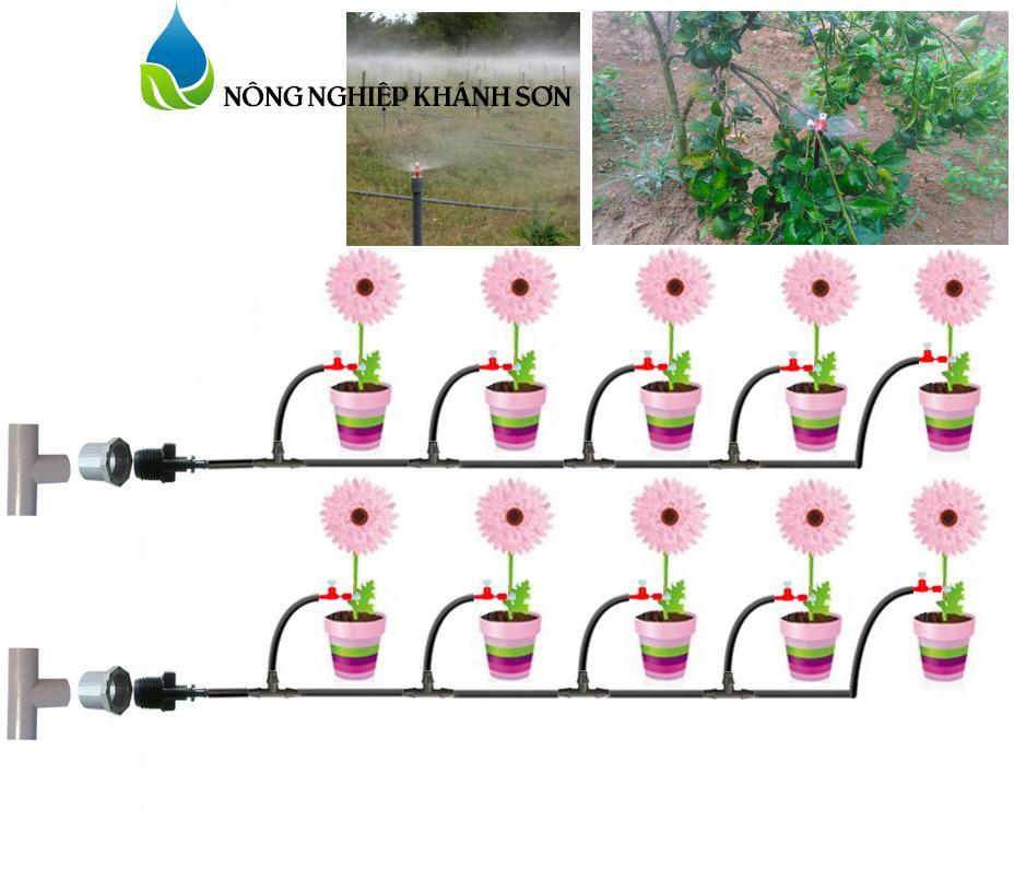 Bộ KIT tưới cây 20 béc điều chỉnh phun mưa - phun sương hoặc nhỏ giọt