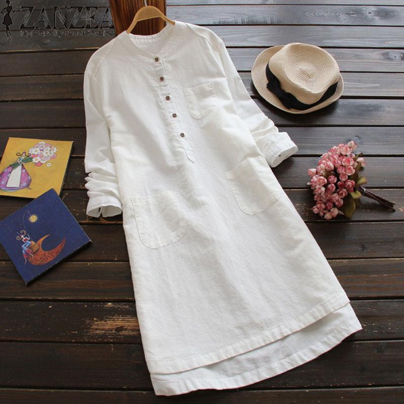 Voucher Khuyến Mại Đầm Sơ Mi ZANZEA Dài Tay Cổ đứng đơn Giản Thanh Lịch, Chất Liệu 100% Cotton, Thiết Kế Thời Trang