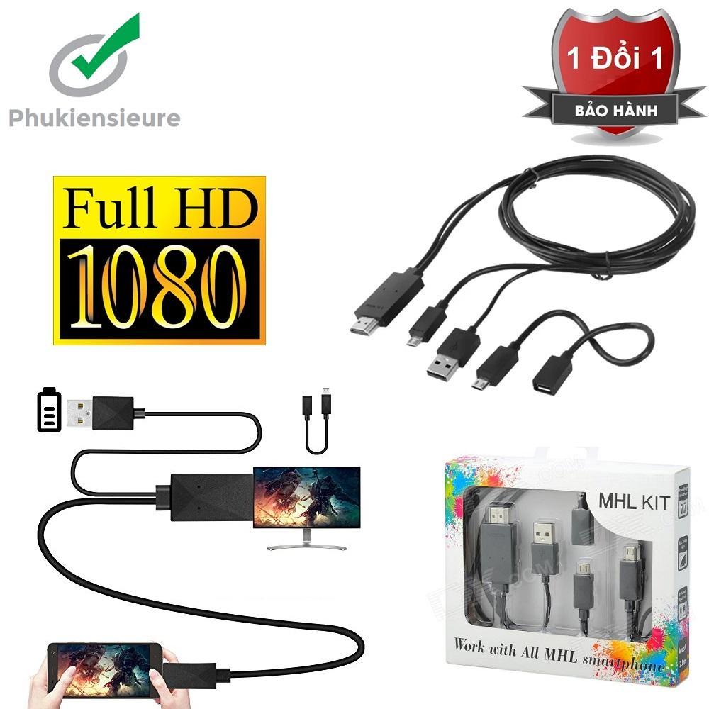 Cáp Chuyển Từ điện Thoại Lên Tivi Loại 5 Pin Và 11 Pin MHL KIT To HDMI (Đen) Giá Quá Ưu Đãi