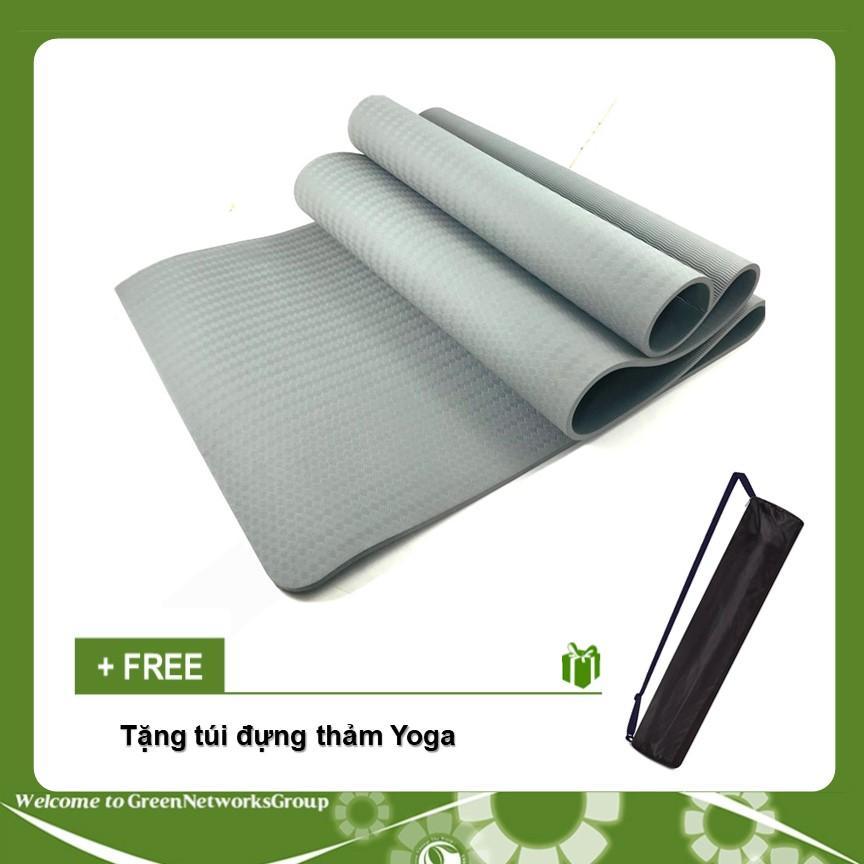Bán Thảm tập Yoga TPE  8mm 1 lớp kiểu gợn sóng tặng kèm túi đựng GreenNetworks