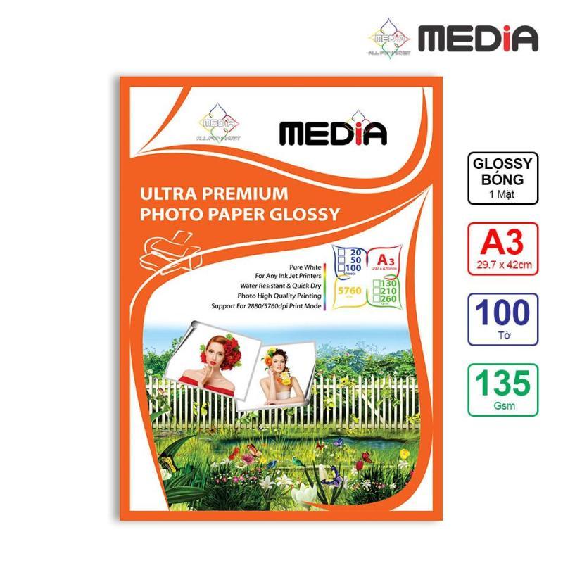 Giấy In Ảnh Media 1 Mặt Bóng (Glossy) A3 (29.7 x 42cm) 135gsm 100 Tờ