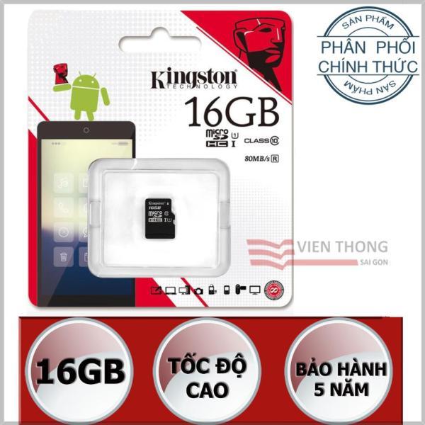 Thẻ nhớ 16GB Kingston UHS1 Up to 80MB/s Class10 microSDHC (Đen) - Hãng Phân phối chính thức (PT)