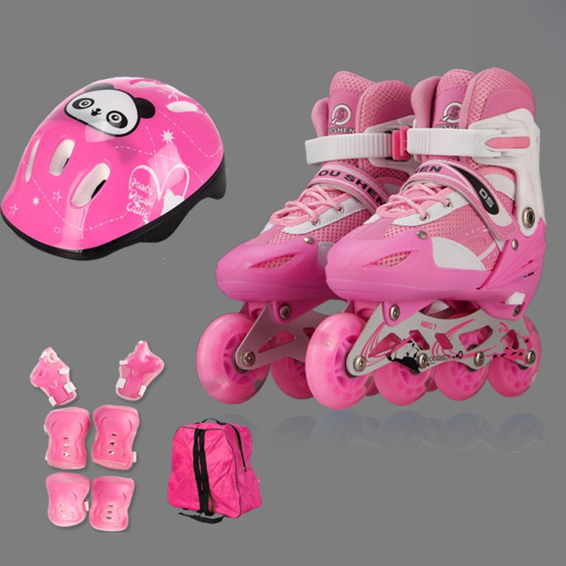 Dạy trượt patin cơ bản, Mua giay batin, Giày Patin trẻ em tặng mũ và đồ bảo hộ (5 đến 14 tuổi) với bánh xe có tính đàn hồi cao, chống trầy xước, chống xé rách, chịu mài mòn va đập tốt - BẢO HÀNH UY TÍN