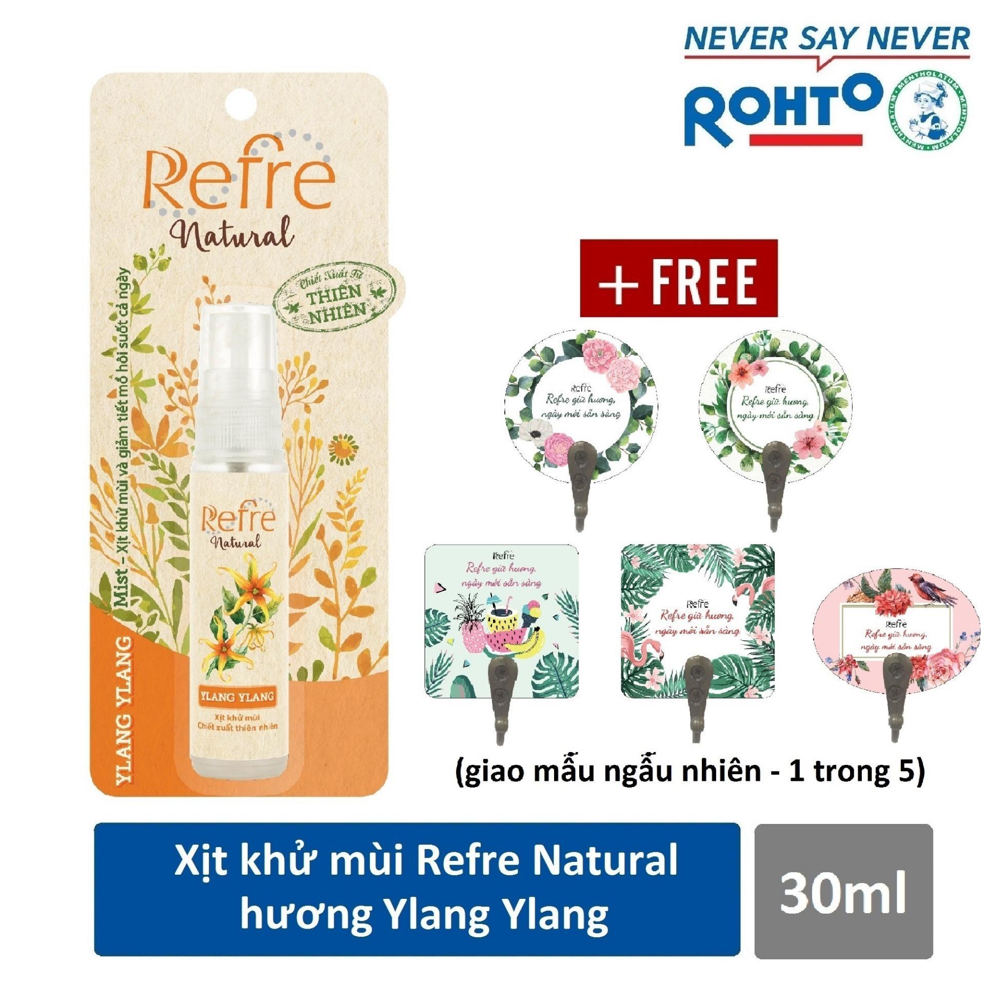 Xịt Khử Mùi Refre Natural Ylang Ylang Hương Ylang Ylang (30ml) + Tặng móc gỗ dán tường xinh xắn chính hãng