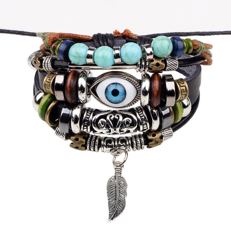 [HCM]Vòng Tay Bộ 4 Cái  Biểu Tượng Mắt Thần  Lông Vũ   Horus  VTMATHORUSLA