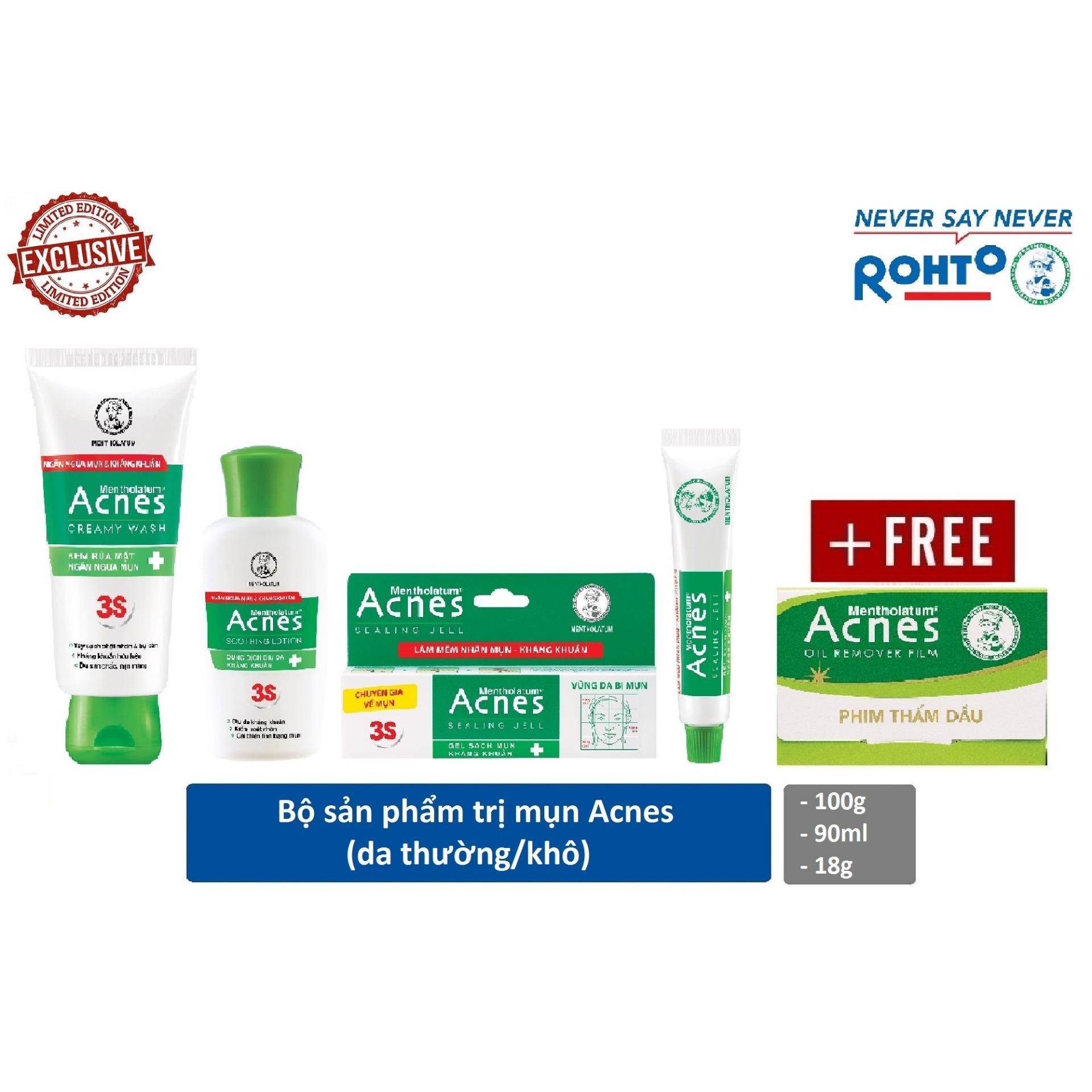 Bộ sản phẩm trị mụn Rohto Acnes (da thường/khô) + Tặng 1 phim thấm dầu Acnes Oil Remover 50 tờ
