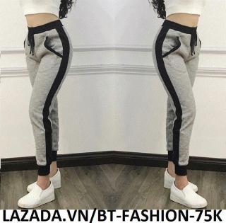 Quần Dài Nữ Thun Phom Rộng Jogger Thể Thao Thời Trang Hàn Quốc - BT Fashion (Sọc Bo - 04) thumbnail