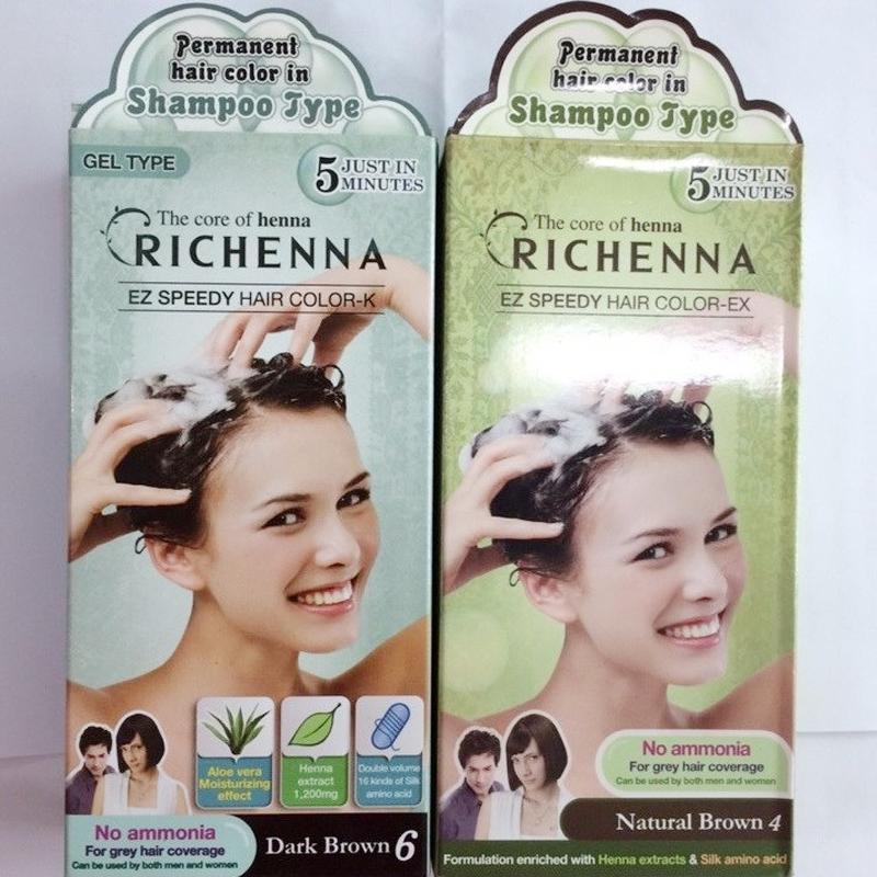 Hình ảnh Bộ 2 Thuốc nhuộm tóc bạc dạng gội Richenna Hàn Quốc 2 màu