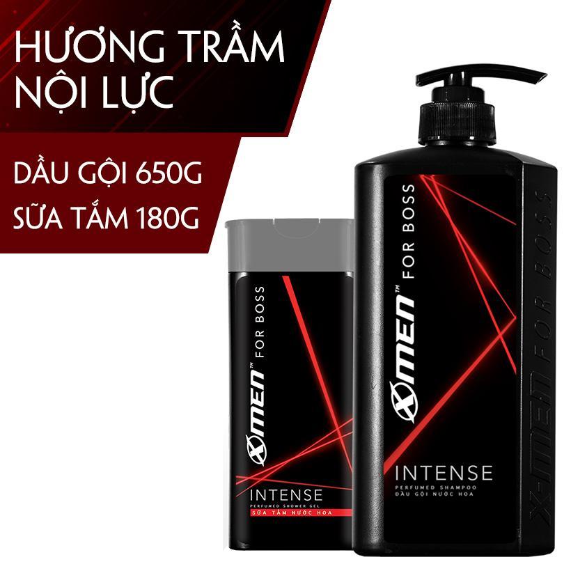Combo Dầu gội nước hoa X-Men for Boss Intense 650g + Sữa tắm nước hoa X-Men for Boss Intense 180g