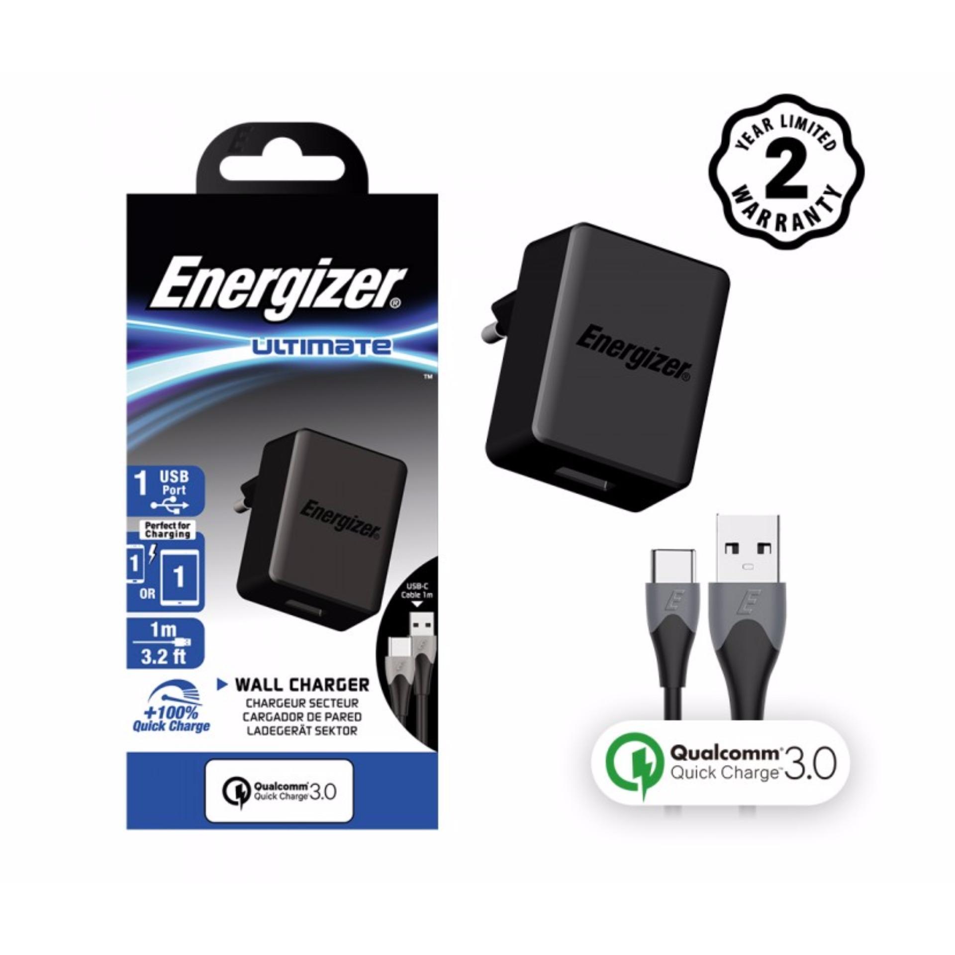 Sạc Energizer 1 cổng Quick Charge QC 3.0 18W kèm cáp USB Type C - AC1Q3EUUC23 - Hãng phân phối chính thức