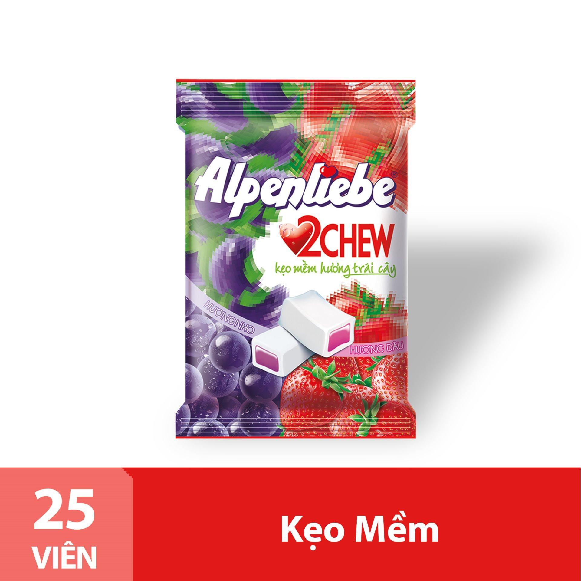Kẹo Mềm Alpenliebe 2Chew Hương Hỗn Hợp Dâu & Nho Gói 25 Viên Nhật Bản