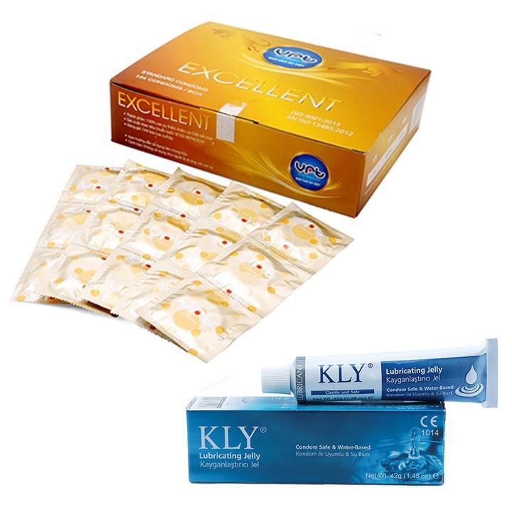 Bao cao su Excellent mỏng trơn 144 cái và 42gram gel bôi trơn KLY nhập khẩu