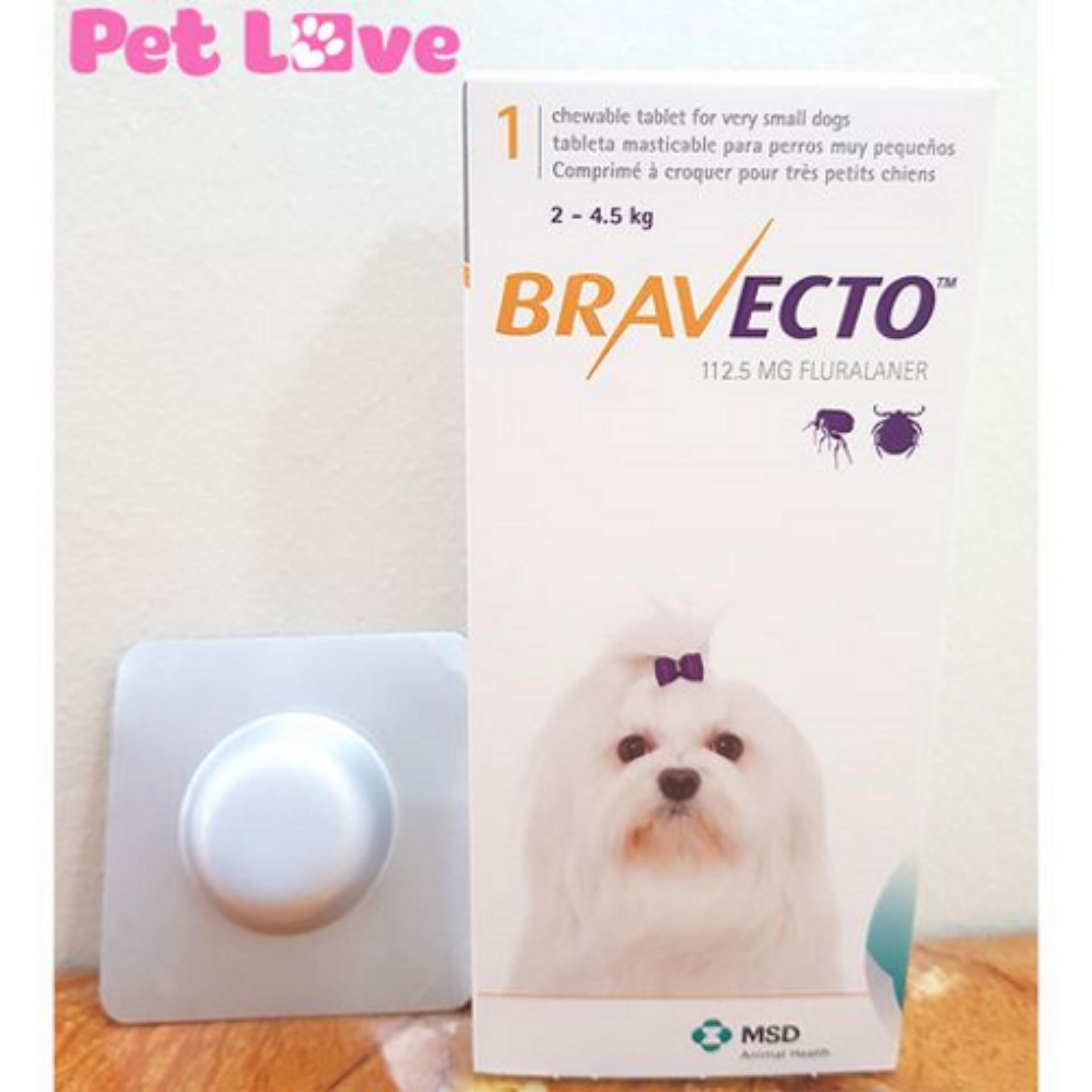 Thuốc Bravecto trị ghẻ, viêm da, ve rận (chó từ 2 - 4,5kg) Nhật Bản