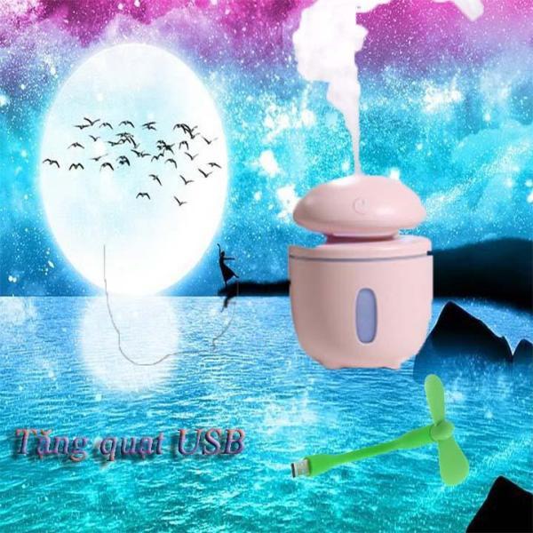 Đèn Nấm Phun Sương Mini( Tặng Kèm Quạt USB Đáng Yêu), Đèn phun sương 7 màu, Đèn phun tinh dầu kèm đèn ngủ, Đen phun sương công nghệ mới năm 2019