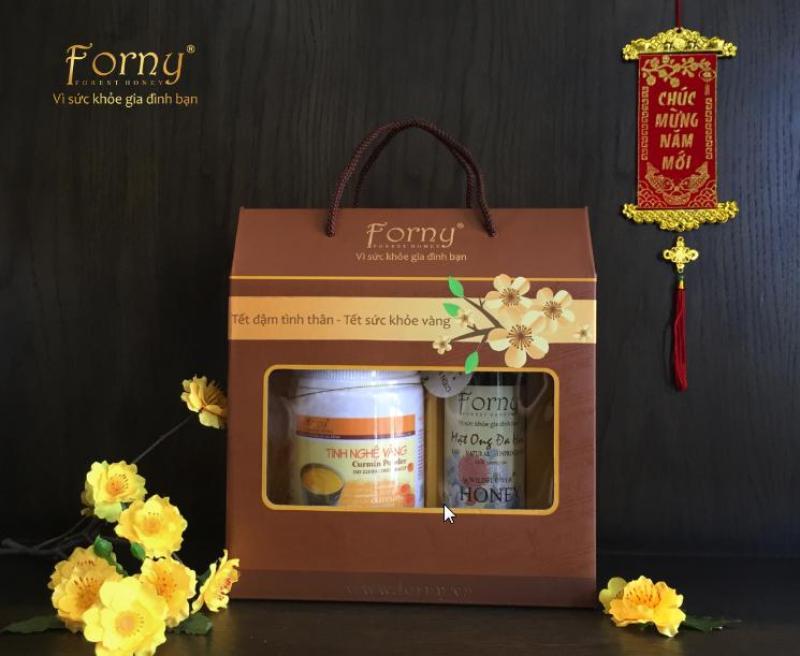 Set Quà tặng Forny gồm Tinh nghệ vàng 300g và Mật ong tươi rừng tràm U minh 350ml DP (dành cho người đau dạ dày, làm đẹp, bồi bổ sức khỏe, phụ nữ sau sinh) (tinh bột nghệ) (Tinh bột nghệ nguyên chất)