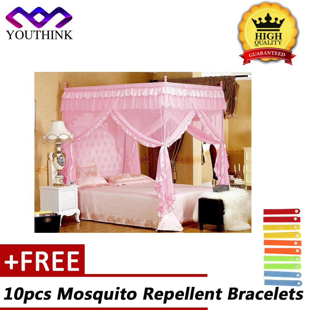 [Buy 1 Get 10pcs Free Mosquito Repellent Bracelets] Cao cấp 4 Góc Bài Giường Rèm Cửa Chống Muỗi Hồng 1.5x2 m