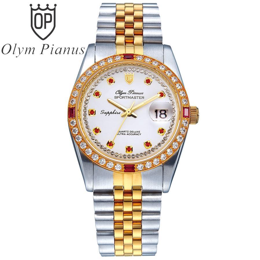 Đồng hồ nam mặt kính sapphire Olym Pianus OP89322DSK trắng hạt đỏ bán chạy