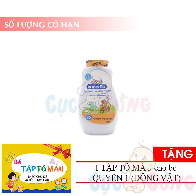 Phấn Chống Côn Trùng Kodomo 50g - Protection (cam) TẶng 1 Quyển Tô Màu (động Vật) - Phan Chong Con Trung Cho Be By Shop Baby Chick.