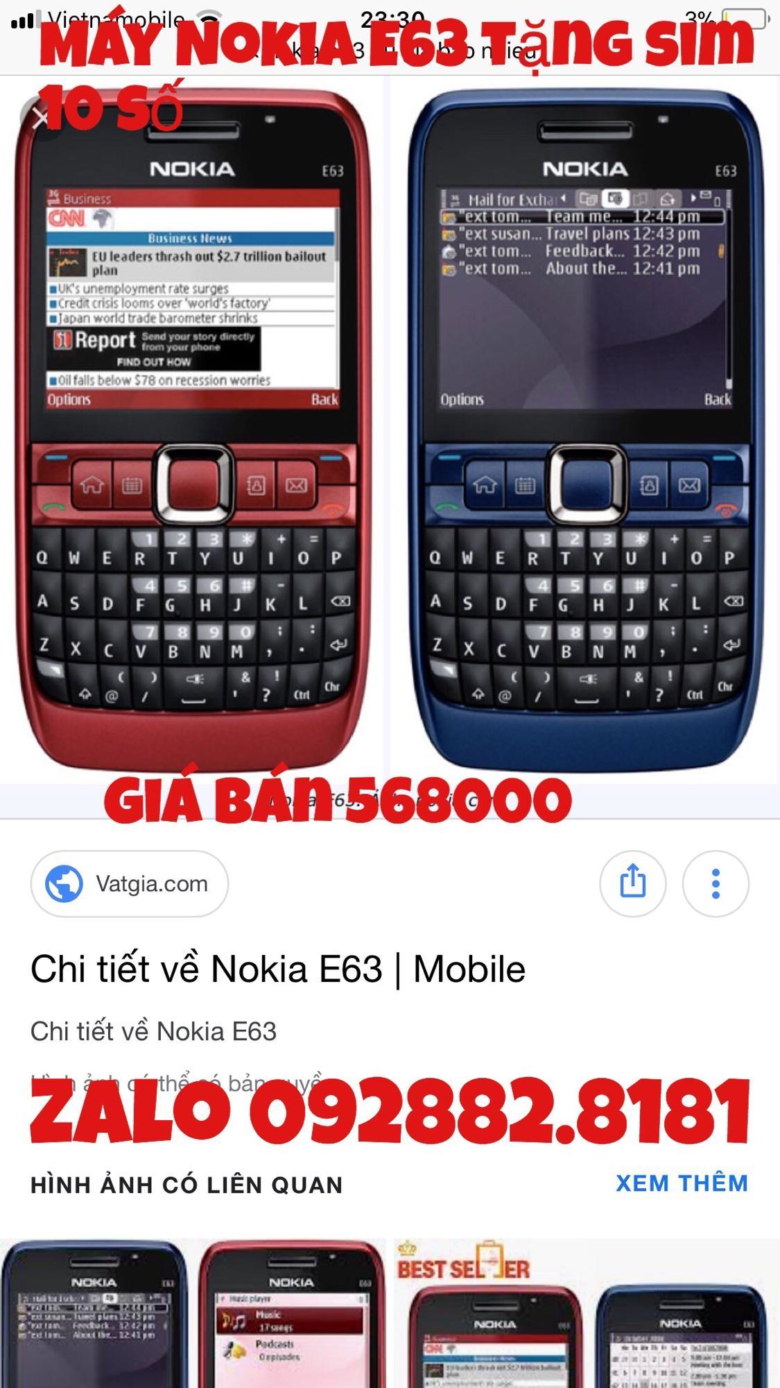 Mua Nokia E63 Zin Tặng Sim 10 Số Trực Tuyến Rẻ