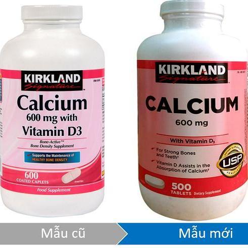 Viên uống bổ sung canxi Kirkland Signature Calcium 600mg + D3 500 viên (hsd 1/2021)